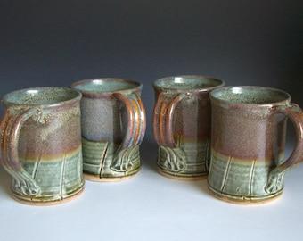 Hand thrown stoneware pottery mugs set of 4  (M-25)