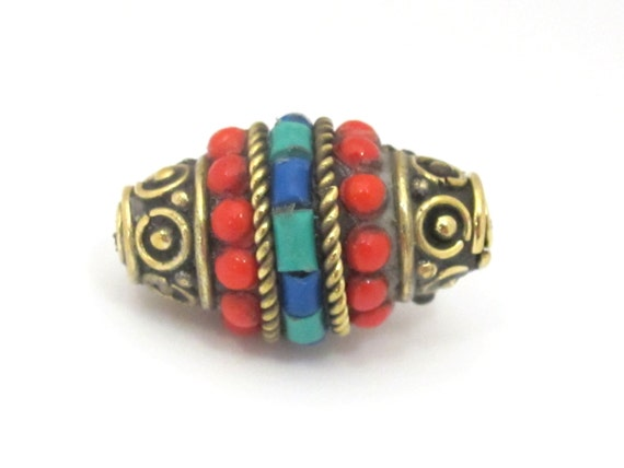 2 beads - Bicone shape Tibetan brass bead with turquoise coral inlays - BD865s