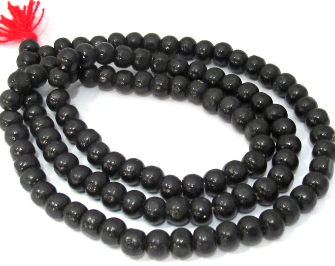 108 beads - Light weight black color wooden beads mala making supplies from Nepal 8 mm - ML058