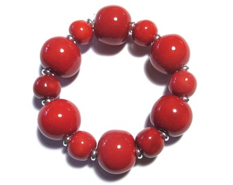 Red and Black Spotted Beaded Bracelet, Kazuri Bangle, Fair Trade, Ceramic Jewellery, Red Bangle