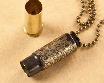 """Time capsule necklace - """"Monte Cristo"""" etched bullet casing pendant - bullet jewelry"""