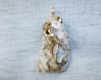 Old authentic Hudson River NY oyster shell gold color silver plated wire wrap crystal bead pendant. Boho chic 1 pendent.