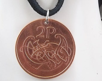 Irish Coin Pendant, 2 Pingin, Coin Pendant, Leather Cord, Mens Necklace, Womens Necklace, Birth Year, 2000