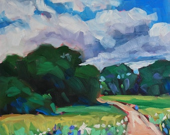 Summer Path, original small oil painting