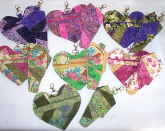 Quilted Hearts with Sewing Kits, Quilted Scissor Holders with Iris Scissors