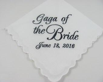 Personalized - Gaga of the Bride - Embroidered - Wedding Handkerchief - Wedding Gift - Keepsake - Lake Hanky - Simply Sweet Hankies