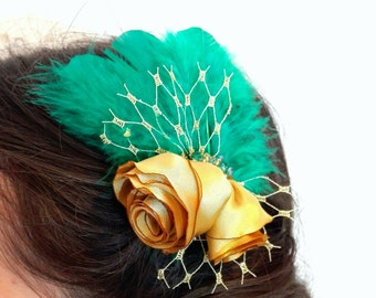 Roses and Feathers Hair Clip, Hair Accessory, Silk Flowers Hair Clip, Special Occasion Hair Flowers, Mini Fascinator