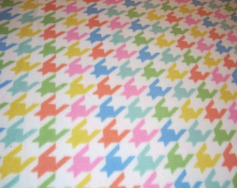 """MicroFleece Fabric - Multicolor Houndstooth Pastels  - 59"""" wide - sold by the yard"""