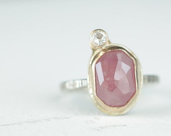 Tiny Pink Rose Cut Sapphire with White Sapphire Satelite,  Sterling and 14k gold  Ring, size 7  Boho Ring, Boho style, Genuine Sapphire