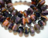 25 8x6mm Purple and Pink Blend Czech Fire polished Picasso Rondelle beads