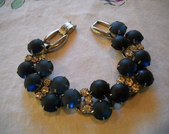 Vintage Juliana Montana Blue Frosted Cabochons Crystal Rhinestones  FREE SHIPPING