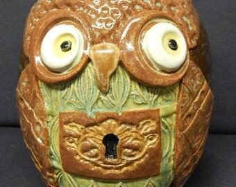 Owl face Jug Vase Pottery K