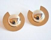 Vintage 1980s MODERNIST gold earrings