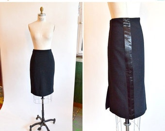 30% OFF STOREWIDE / Vintage 1990s black wool pencil skirt w/ satin flashing