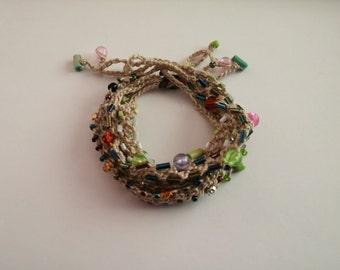 Beaded Crochet Love Knots Bracelet - Group # 07