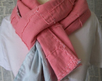 Japanese Boro Inspired, Coral Pink Linen and Pale Turquoise Cotton Scarf