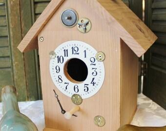 Times Ticking Bird House - Cedar wood bird house - Clock Bird House