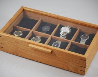 Watch Box with glass top - Holds 8 watches  - Cherry