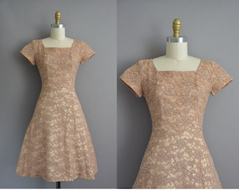 Norman Original 50s brown lace vintage party dress / vintage 1950s dress