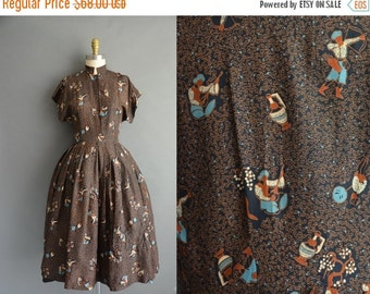 25% off SHOP SALE... vintage 1950s dress / 50s rare novelty print silk vintage dress