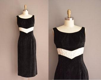 black velvet wiggle dress / 50s Campus Juniors dress / vintage 1950s dress