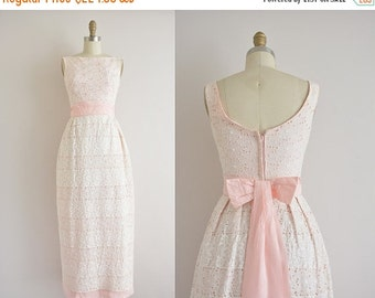Anniversary SHOP SALE... vintage 1960s dress / 60s eyelet lace party dress / 1960s pink and white dress