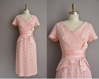 50s pink lace and satin vintage cocktail wiggle dress / vintage 1950s dress