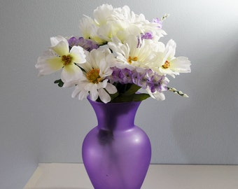 Vintage Frosted Purple / Violet / Lilac / Lavender / Bulbous Glass Vase 9 Inches Tall