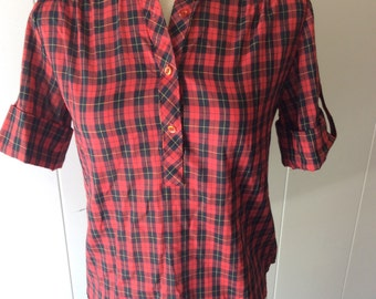 Red Plaid 1950's/ 1960's Blouse Small