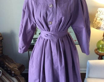 Oversized purple swing coat with cinched  waist