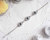 Antique Silver and Green Evil Eye Cameo Bracelet, Antique Silver Evil Eye Bracelet, Green Evil Eye Bracelet, Doll Eye Bracelet