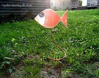 Wooden Fish Garden Stake