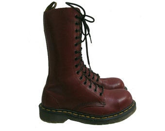 Vintage Dr. Martens Boots Womens Preowned Cherry Red Leather 14 Eyelet Steel Toe Doc Martens Combat Boots Made In England Fits Wms US Size 7