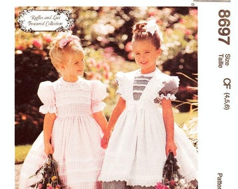 Pick Your Size - Girls'/Toddler Dress Pattern McCall's 8697 -  Girls' Flared Puff Sleeve Dress and Lace Pinafore - McCall's Patterns