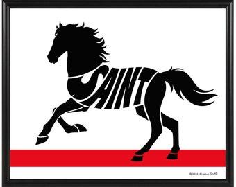 Personalized Mustang Horse Silhouette Print, Custom Horse Art, Gift for Horse Owner, Framed Equine Art