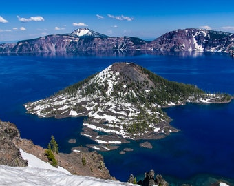 Wizard Island in Crater Lake.  Landscape wall art or wall art from still photography.  Fine art print for home decor or wall art.