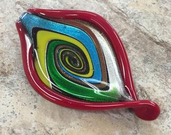 Lampwork Glass Pendant / Red with Swirls
