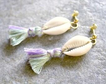 Cowrie Shell Two Toned Tassel Earrings Lavender Mint Green