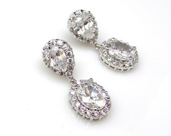 bridal earrings wedding jewelry Clear white oval cubic zirconia teardrop cz post rhodium earrings christmas bridesmaid gift prom party