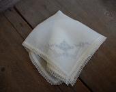 Vintage Ladies Hanky Tatted Edge  Wedding Bride Gift Handkerchief Cottage Chic Decor AMarigoldLife