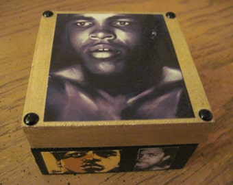 Muhammad Ali Small Hand Crafted Decoupaged Wooden Trinket Keepsake Box
