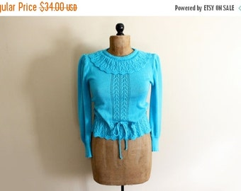 50% OFF SALE vintage sweater 80s womens clothing turquoise 1980s ruffle collar feminine pointelle size s m small medium