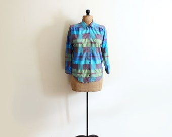vintage shirt hippie boho 1990s womens blouse indian woven turquoise geometric triangle clothing size small s