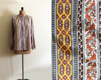 vintage blouse wallpaper mixed print 1970s striped paisley earthy colors shirt clothing size large l