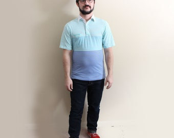 vintage shirt 80s polo mens clothing striped mint green blue preppy wilson tennis 1980s size medium m