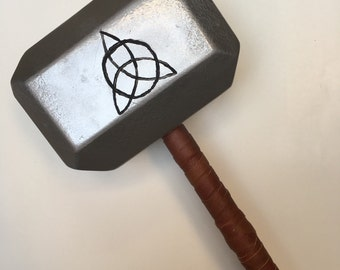 Thor Inspired Painted Wood & Leather Hammer
