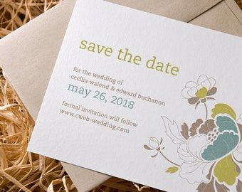 Close to nature eco-Save-the-Date: Hue Garden / Set of 40 / Peony, soft and elegant, rustic charm, 100% recycled paper & envelope