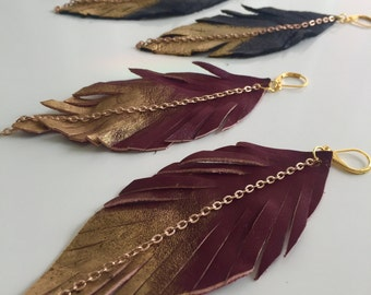 Painted Leather Feather Earrings with Brown Leather and Gold Chain