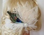 Wedding Hair Clip, Ivory peacock, Bridal Hair Fascinator, Feather Fascinator, Bridal Hair Clip, Wedding Hair Accessories, Bridal Comb