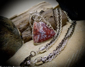 Mexican Crazy Lace Agate Silver Wire Wrapped Gemstone Necklace